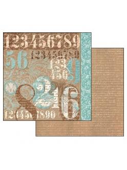 Бумага для скрапбукинга Типография, цифры Stamperia, 31,2х30,3 см