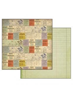 Бумага для скрапбукинга Путешествие по Франции Stamperia, 31,2х30,3 см