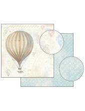 "Бумага для скрапбукинга двусторонняя ""Бежевй воздушный шар"", Stamperia, 31,2х30,3 см"