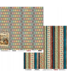 "Бумага для скрапбукинга двусторонняя ""Старый цирк Фейерверк"", 30,5х30,5 см, ScrapBerry's"