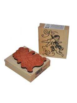 """Штамп резиновый на деревянной основе WTB009 """"Ангелы"""", Stamperia, 7,5 х6,3 см"""
