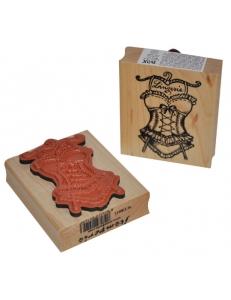 """Штамп резиновый на деревянной основе WTB011 """"Корсет"""", Stamperia, 7,5 х6,3 см"""