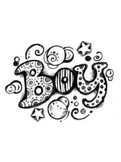 "Штамп резиновыйWTB020 ""Надпись Boy"", Stamperia, 7,5 х6,3 см"