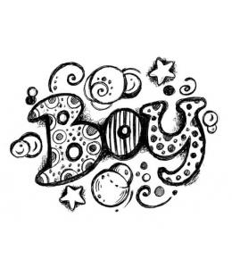 """Штамп резиновый на деревянной основе WTB020 """"Надпись Boy"""", Stamperia, 7,5 х6,3 см"""