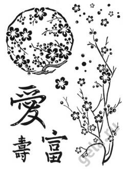 Набор силиконовых штампов WTK001 Японский орнамент, Stamperia