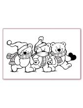 """Штамп силиконовый """"Новогодние мишки"""", 11х7 см, Stamperia"""