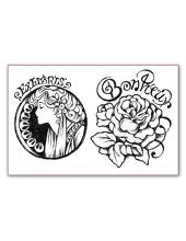 """Штампы силиконовые WTK038 """"Женщина и роза, Альфонс Муха"""", Stamperia, 7х11см"""