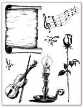 """Набор силиконовых штампов WTK050 """"Музыка, свеча, роза, свиток"""", Stamperia, 18х14 см"""