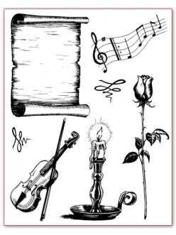 Набор силиконовых штампов Музыка, свеча, роза, свиток, Stamperia, 18х14 см