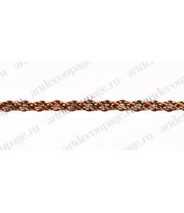 Тесьма золотая с красным 6,5 мм, 90 см, PEGA (Чехия)