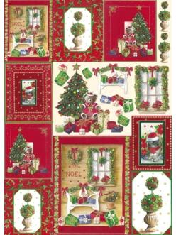 """Декупажная карта Stamperia DFG365 """"Рождество, ёлки, подарки"""""""