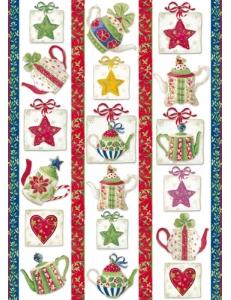 """Декупажная карта Stamperia DFG366 """"Рождество, чайники, звезды"""", 50х70 см"""