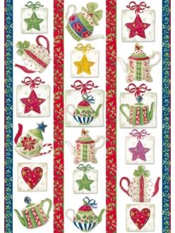 Декупажная карта Рождество, чайники, звезды, 50х70 см, Stamperia DFG366