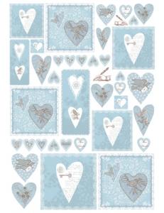 """Декупажная карта Stamperia DFG370 """"Синие сердечки, текст, орнамент"""", 50х70 см"""