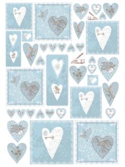 Декупажная карта Stamperia Синие сердечки, текст, орнамент, 50х70 см