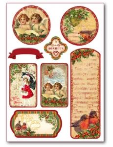 """Наклейки новогодние """"Рождество, ангелы"""", Stamperia (Италия)"""
