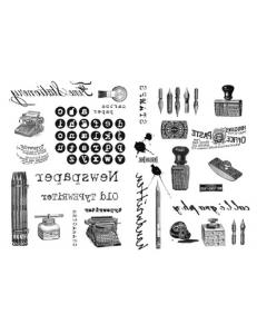 """Переводная карта Transfer DFTR025 """"Печатная машинка"""", 21х29,7 см, 2 листа, Stamperia"""