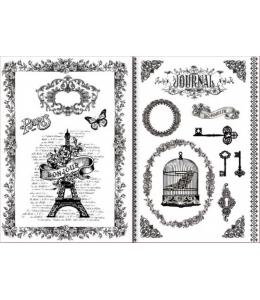 "Переводная карта Transfer DFTR032 ""La Vie en Rose"", 21х29,7 см, 2 листа, Stamperia"