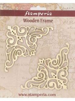 Декоративные накладные элементы из дерева Уголки ажурные, 10х10 см, 2 шт, Stamperia