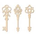 Декоративные элементы из дерева, фигурки Ключи большие, 11 см, 3 шт, Stamperia (Италия)