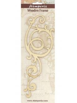 Деревянная плоская фигурка Завиток большой, 9х21 см, Stamperia Италия
