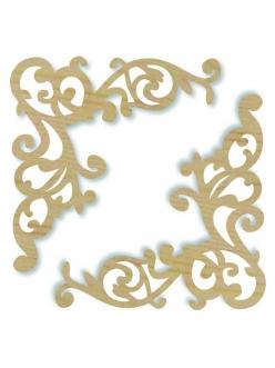 Декоративные накладные элементы из дерева Уголки ажурные, 11,5х11 см, 2 шт, Stamperia KLS232