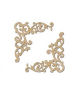 Декоративные элементы из дерева Уголки ажурные большие, 7,6х7,6 см, 2 шт, Stamperia (Италия)
