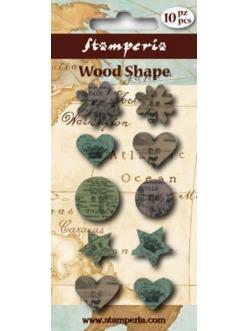 Набор декоративных деревянных пуговиц Цветы, звездочки, сердечки, 10 штук, Stamperia