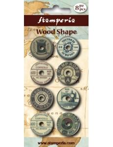 """Набор декоративных деревянных элементов """"Шитье"""", 8 штук, Stamperia (Италия)"""