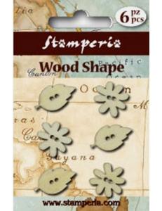 """Набор декоративных деревянных пуговиц """"Цветы и листья"""", 6 штук, Stamperia (Италия)"""