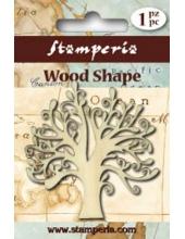 """Декоративный деревянный элемент, фигурка """"Цветущее дерево"""", 7х7,5 см, Stamperia (Италия)"""