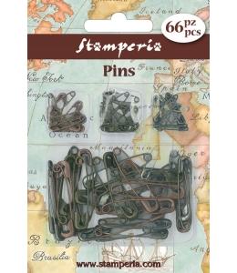 Декоративные металлические английские булавки, Stamperia, 66шт