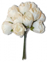 """Цветы бумажные """"Белый букет"""", 12 цветков, 2 см, Stamperia (Италия)"""