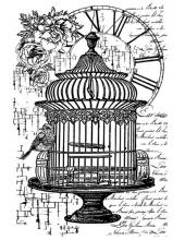 """Штамп резиновый на резиновой основе WTKCC107 """"Птичья клетка и часы"""", Stamperia, 7х11 см"""