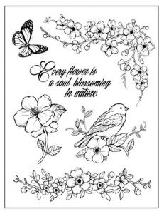 """Набор резиновых штампов WTKCC115 """"Цветущие ветки птица"""", Stamperia, 14х18 см"""