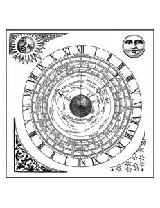 """Штампы резиновые на резиновой основе WTKCC125 """"Алхимия и астрономия"""", 10х10 см, Stamperia"""