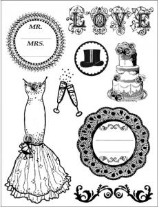 "Набор резиновых штампов WTKCC22 ""Свадьба"", 8 шт., Stamperia, 14х18 см"