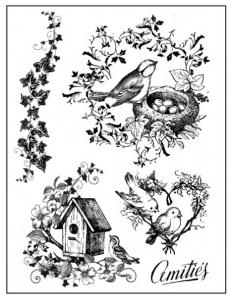 """Набор резиновых штампов WTKCC63 """"Птица в гнезде"""", 5 шт., Stamperia, 14х18 см"""