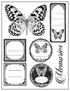 "Набор резиновых штампов WTKCC65 ""Тэги и бабочки"", 7 шт., Stamperia, 14х18 см"