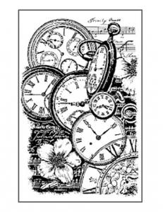 """Штамп резиновый на резиновой основе """"Часы и цветы"""", Stamperia, 7х11 см"""