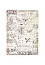 "Рисовая бумага для декупажа Stamperia DFSA3003 ""Бабочки и текст"", формат А3"