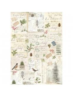 Рисовая бумага для декупажа Зимняя ботаника, Stamperia формат А3