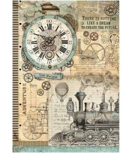 """Рисовая бумага для декупажа Stamperia DFSA3035 """"Фантастическое путешествие, паровоз"""", формат А3"""