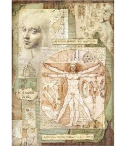 """Рисовая бумага для декупажа Stamperia DFSA3045 """"Леонардо, золотое сечение"""", формат А3"""
