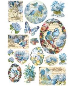 """Рисовая бумага для декупажа Stamperia DFSA4077 """"Птицы и голубые бабочки"""", формат А4"""