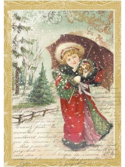 Рисовая бумага для декупажа Девочка с зонтиком, Stamperia формат А4