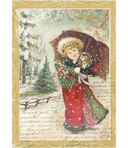 """Рисовая бумага для декупажа Stamperia DFSA4143 """"Девочка с зонтиком"""", формат А4"""