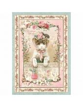 """Рисовая бумага для декупажа Stamperia DFSA4312 """"Рождественская кошка"""", формат А4"""