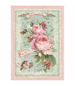 """Рисовая бумага для декупажа Stamperia DFSA4313 """"Рождественские розы"""", формат А4"""