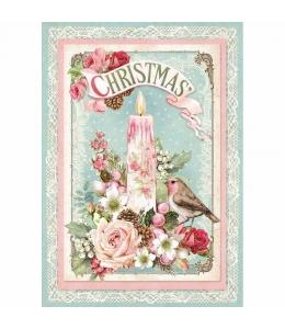 """Рисовая бумага для декупажа Stamperia DFSA4315 """"Рождественские свечи"""", формат А4"""